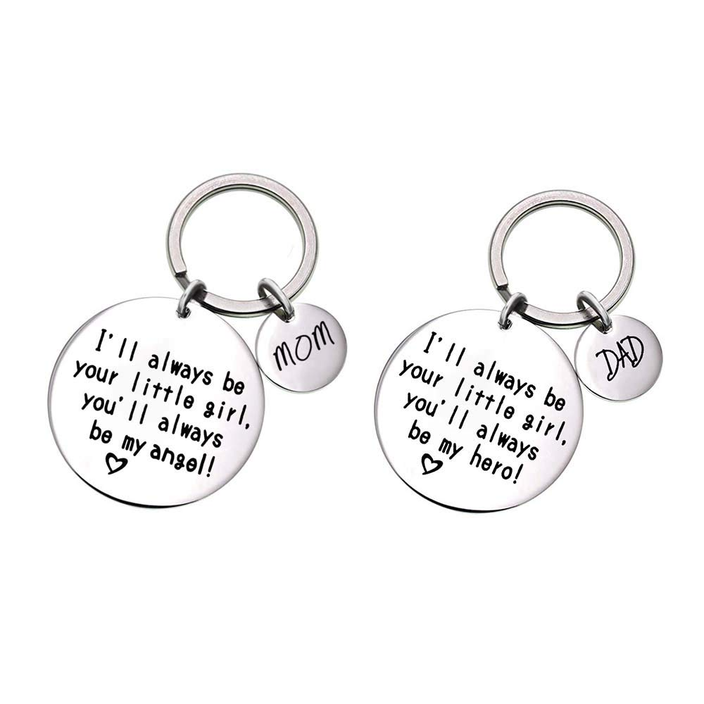 MJartoria Family Keychain Dad Gifts from Daughter Dad I Will Always Be Your Little Girl You Will Always Be My Hero