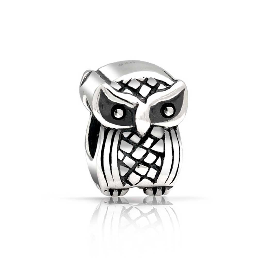Wise Graduate Owl Bird Charm Bead For Women For Teen 925 Sterling Silver Fits European Charm Bracelet