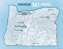 Oregon Ski Resorts Map 11x14 Print (White & Light Blue)