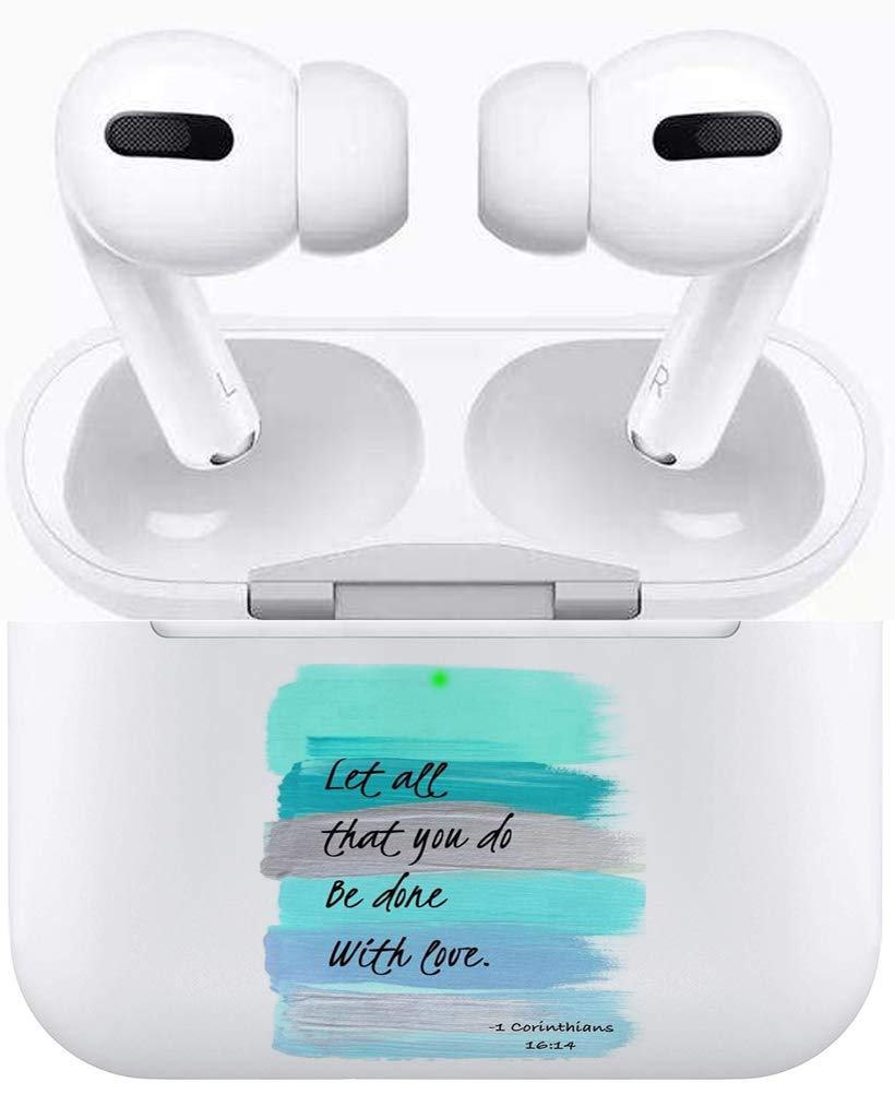 Air Pods Pro Case, Silicone TPU Cute Accessories Holder Case Cover Skin Keychain Compatible with Airpods Pro Air Pods Pro 3 Christian Sayings Bible Verses Theme Let All That You Do Be Done with Love