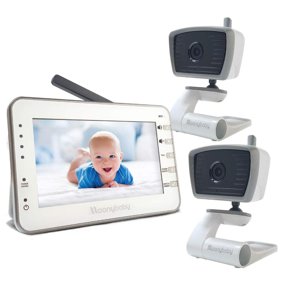 Moonybaby Trust 30-2(A) Video Baby Monitor with 2 Cameras (Bonus: 2 USB Power Cords for Camera Included), 4.3 Inches LCD Screen, No WiFi, Long Battery Life, Power Saving Mode, Temperature Monitoring