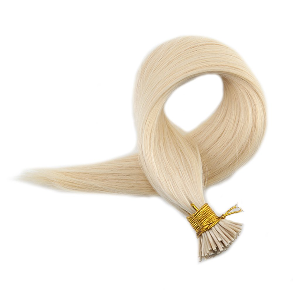 """Full Shine 20"""" 0.8g per Strand 50 Strands Per Package Stick Tip Hair Extensions White Blonde Color #60 Straight I Tip Keratin Human Hair Extensions"""