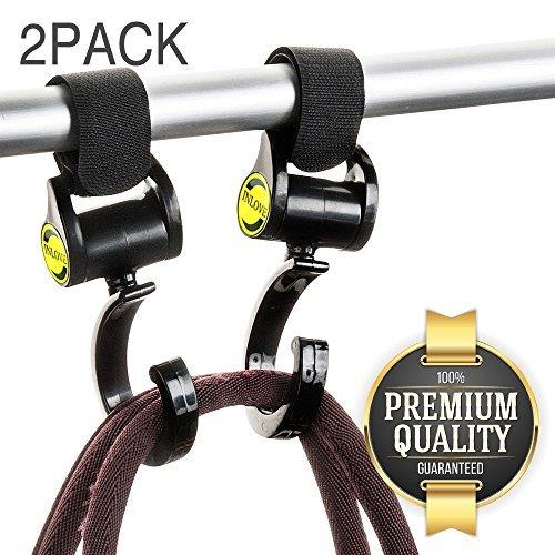 Eutuxia Stroller Hook for Baby Strollers, Pushchairs, Prams, Perambulators & Buggies. Hanger Organizer Hangs & Secures Backpacks, Purses, Shopping, Grocery & Diaper Bags. Universal Fit. [2 PK]