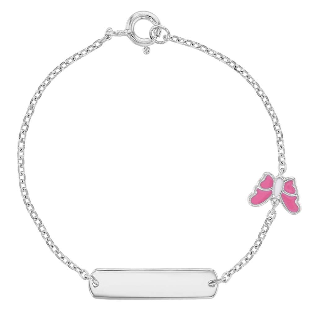 """925 Sterling Silver Girls Pink Enamel Butterfly Tag ID Bracelet 6"""""""