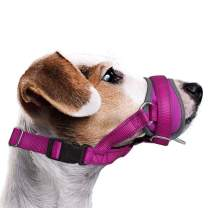AutoWT Dog Muzzle, Update Nylon Dog Mouth Cover Prevent from Biting Barking Chewing Behavior Training More Comfortable Adjustable Soft Reflective Quick Fit for Medium Large Dogs