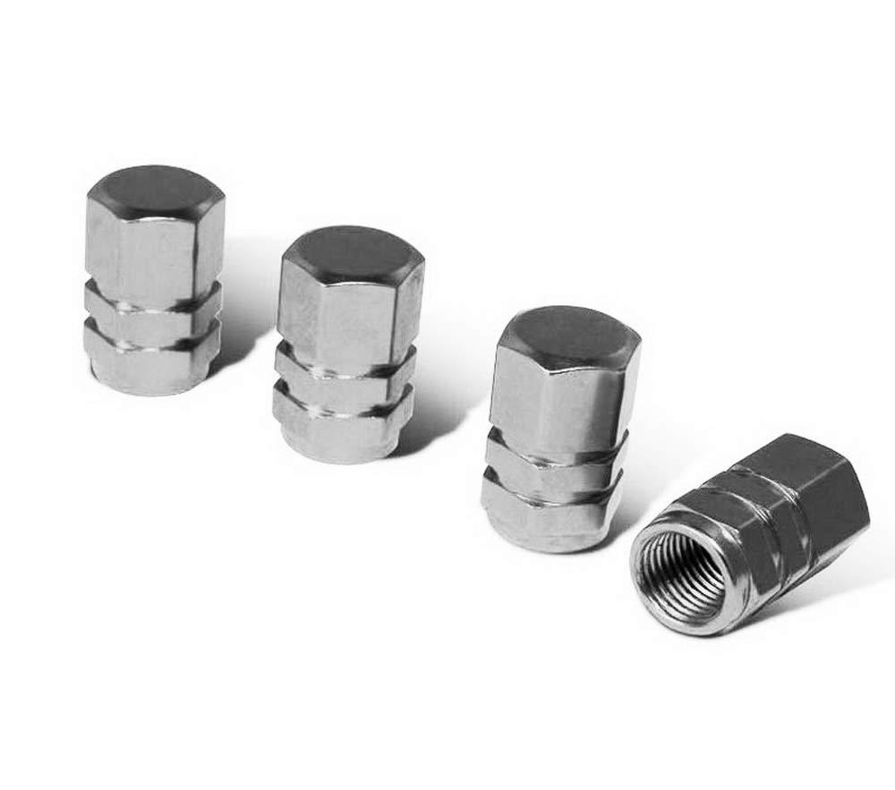iJDMTOY (4) Tuner Racing Style Gun Metal Grey Aluminum Tire Valve Caps (Hexagon Shape)