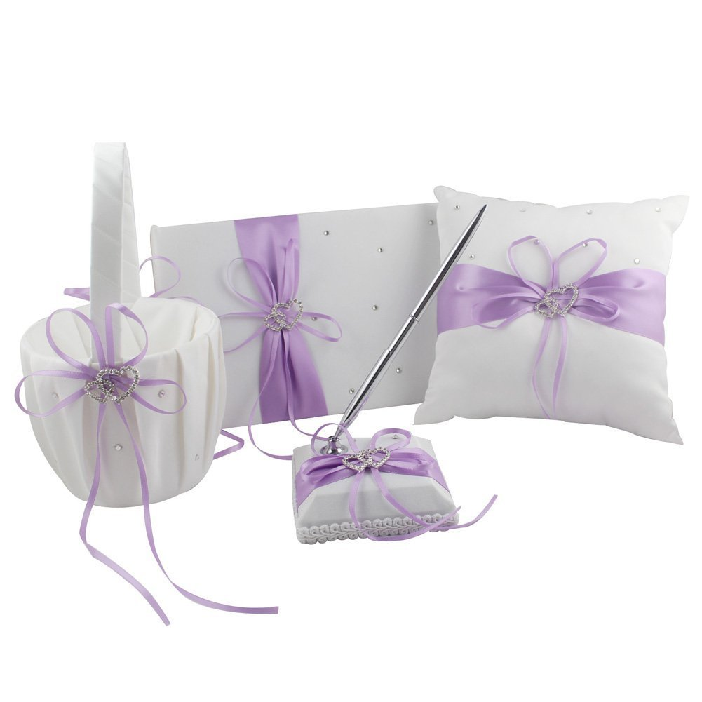 Light Purple Wedding Accesorries Wedding GuestBook+Pen Set+Flower Girl Basket+Ring Bearer Pillow,Decor Ribbon Bowknot Double Heart Diamante Crystal Rhinestone Buckle, Elegant Wedding Ceremony Party