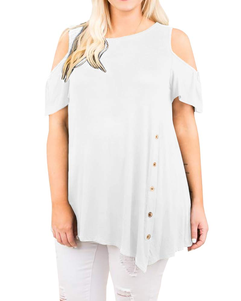 Womens Plus Size Tops Cold Shoulder Short Sleeve Loose Button Casual Summer T Shirts Tunic Top