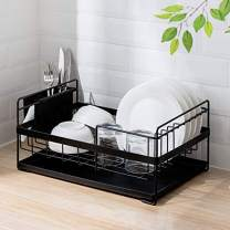 SUNFICON Dish Drainer Kitchen Drying Dish Rack with Drip Tray Utensil Holder Stylish and Well Made Countertop Dish Drying Rack Organizer Set,3 Pieces,Black