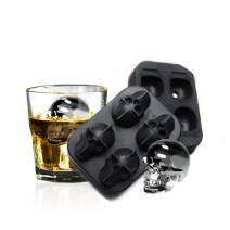 3D Skull Ice Cube Trays DIY Personality Creative Ice Molded Ice Box Reusable and BPA Free (4 Skull Grid) Used for Drinks and Drinks …