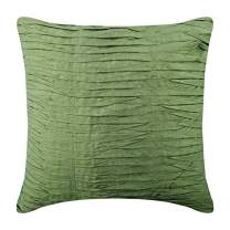 Handmade Green Euro Size Pillow Covers 26x26 inch (65x65 cm), Silk Euro Size Pillow Shams, Solid Color, Pintucks, Textured, Striped, Modern European Pillow Covers - Green Waves