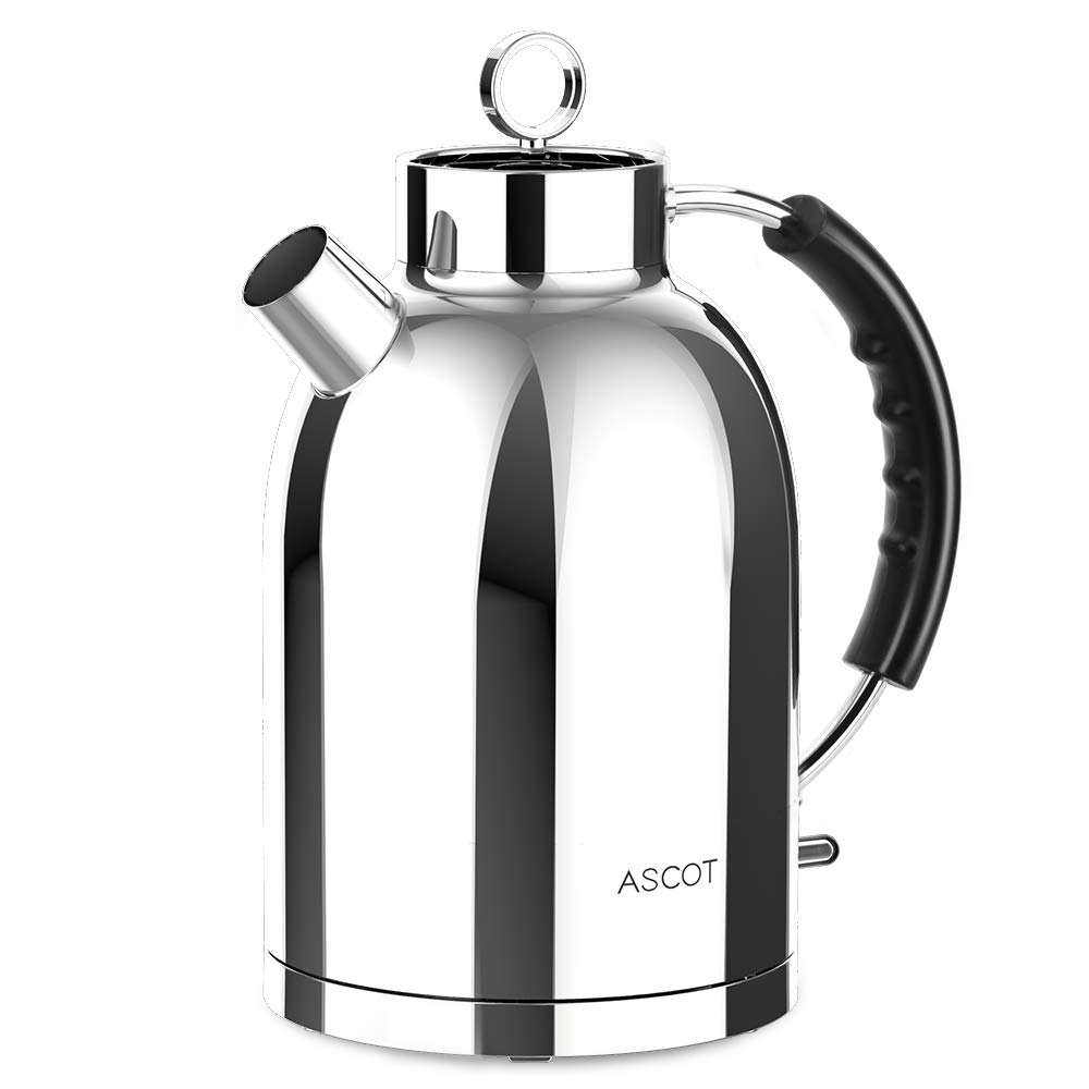 Electric Kettle,ASCOT Tea Kettle Electric Tea Kettle Fast Boiling Water Heater 1.7L, 1500W, Stainless Steel, BPA-Free, Cordless, Automatic Shutoff, Boil-Dry Protection, Bright Silver