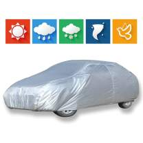 """cciyu Car Cover 100% Waterproof Outdoor Auto Cover All Weather Windproof Snow-Proof Dust-Proof Scratch Resistant UV Protection fit Full Car Cover Length Up to 228"""""""