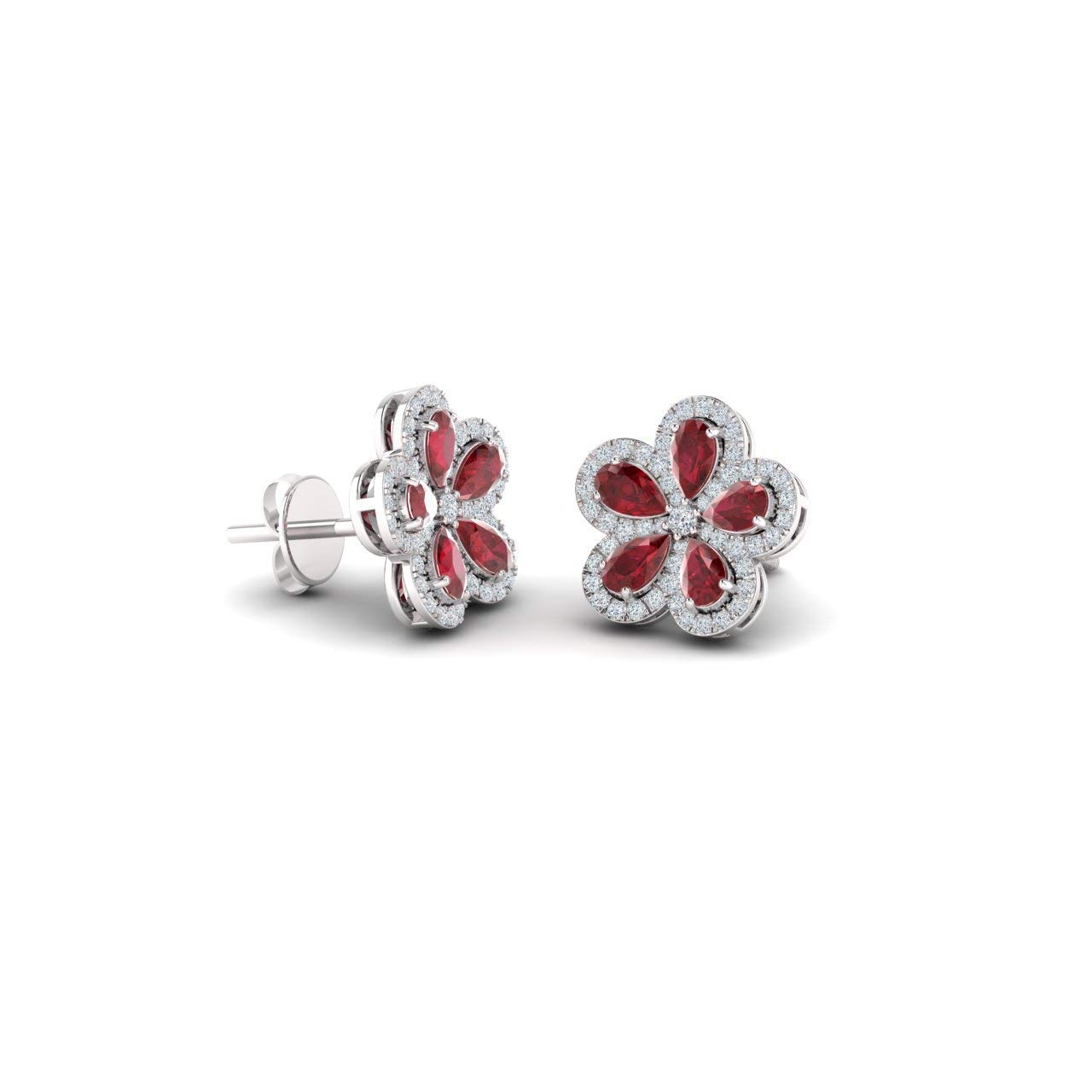 Diamondere Natural and Certified Gemstone and Diamond Floral Earrings in 14K White Gold | 2.85 Carat Earrings for Women