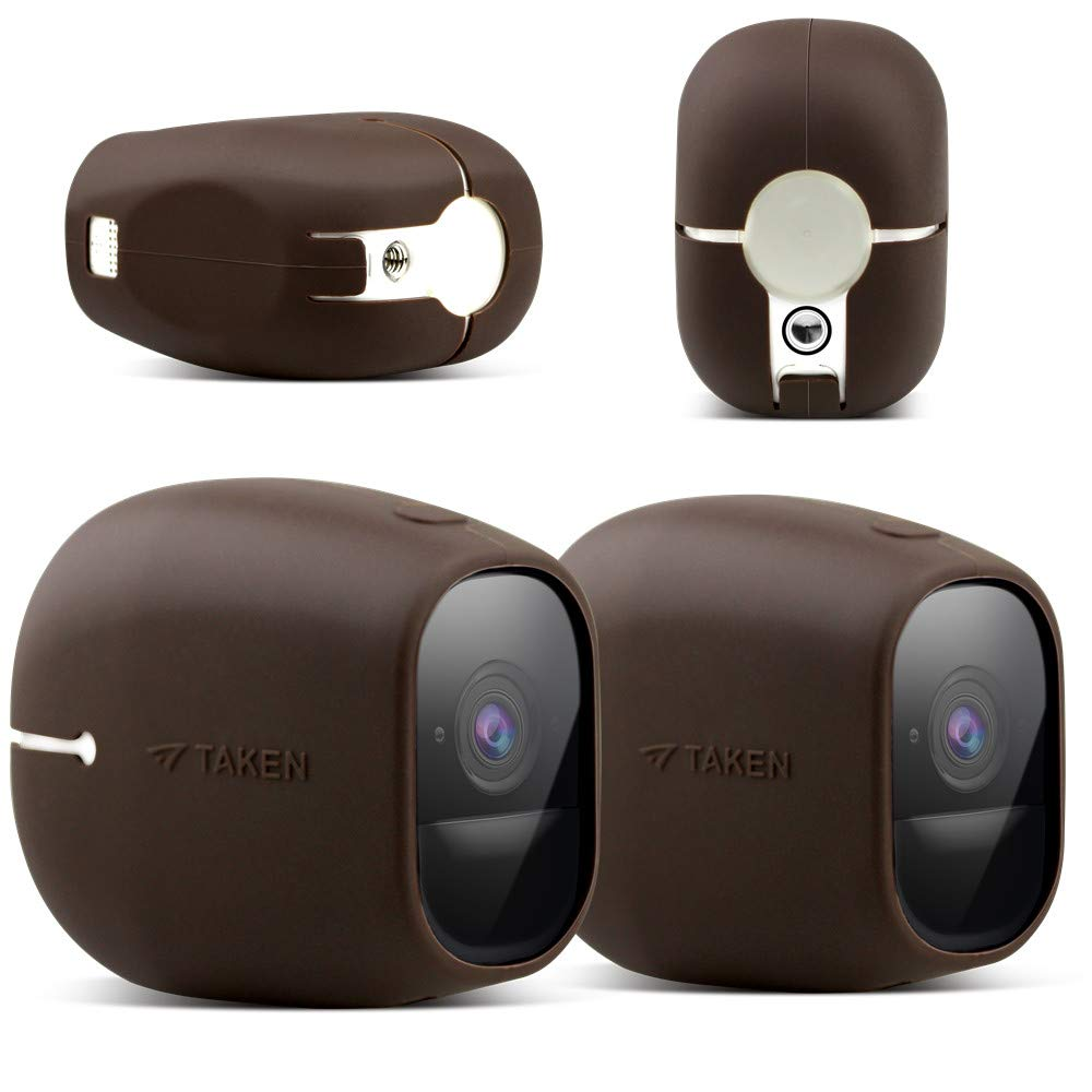 Taken Silicone Skins Compatible with Arlo PRO, Arlo PRO 2 Smart Security Home Camera, Silicone Skins Case Cover for Arlo PRO & Arlo PRO 2 Smart Security Wire-Free Cameras, 2 Pack, Brown