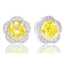 ORROUS & CO Legacy Collection Women's 18K Gold Plated Cubic Zirconia Flower Halo Stud Earrings, 2.30 Carats, One Size