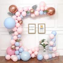 DIY Balloon Garland & Arch Kit 108pcs Pink & Blue Latex Balloons Set Leaves with Decorating Strip, Glue Dots, Pink Ribbon, Knotter, Hooks for Wedding Birthday Baby Shower Party Decors (Pink & Blue)