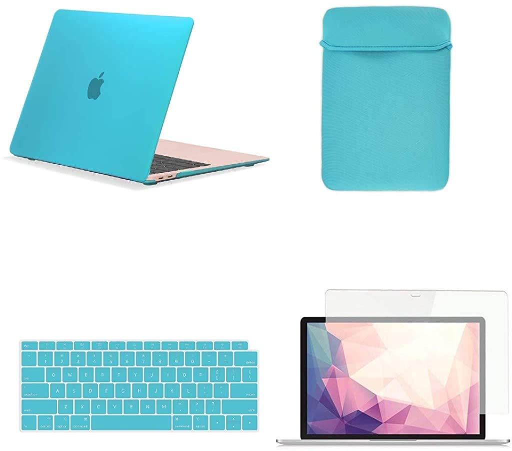 TOP CASE MacBook Air 13 Inch Case A1932 with Retina Display fits Touch ID 2019 2018 Release, 4 in 1 Essential Bundle Rubberized Hard Case, Keyboard Cover, Sleeve, Screen Protector - Serenity Blue
