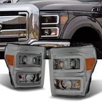 For F-Series SuperDuty Pickup Truck Clear Dual LED Tube Projector Headlights Replacement