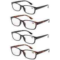 4 Pac Reading Glasses 4 Pack for Men & Women Readers with Spring Hinge for reading