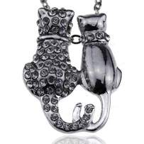 Silver Crystal Two Cats Charms Mood Necklace - Fashion Jewelry Accessories Women Girls and Teen Girls
