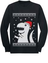 Big Trex Santa Ugly Christmas Sweater Style - Funny Long Sleeve Kids T-Shirt