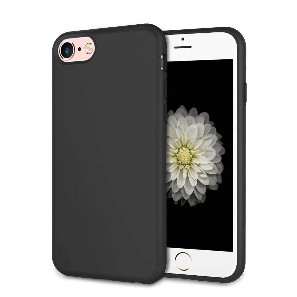 UrSpeedtekLive Slim Series iPhone 6/6s/7/8 Case, iPhone SE 2020 Case, Liquid Silicone Gel Rubber Shockproof Cover Case with Soft Microfiber Lining Full Body Protection for iPhone 6/6s/7/8, Black