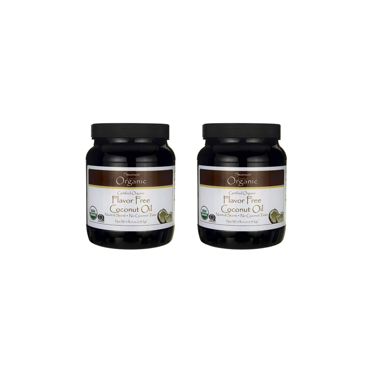 Swanson 100% Certified Organic Flavor Free Coconut Oil Cooking Baking Frying Beauty EFAs MCTs 3 lbs 6 Ounces (1.53 kg) Solid Oil (2 Pack)