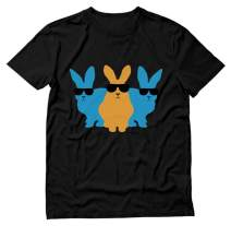 Easter Shirt for Men Hip Trio Bunnies Funny Graphic Hipster Easter Bunny Tshirt