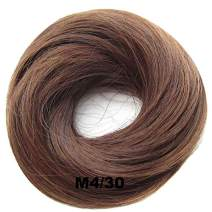 PrettyWit Hairpieces Short Curly Hair Extension Messy Bun Updo Chignons Piece Wig Scrunchy Bridal-Medium Brown & Light Auburn M4/30
