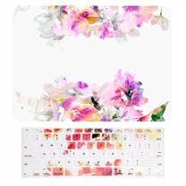 """TOP CASE - 2 in 1 Signature Bundle Floral Reflection Pattern Matte Hard Case + Keyboard Cover Compatible Old Generation MacBook Pro 13"""" with CD-ROM/DVD Drive A1278 - Green and Purple Flowers"""