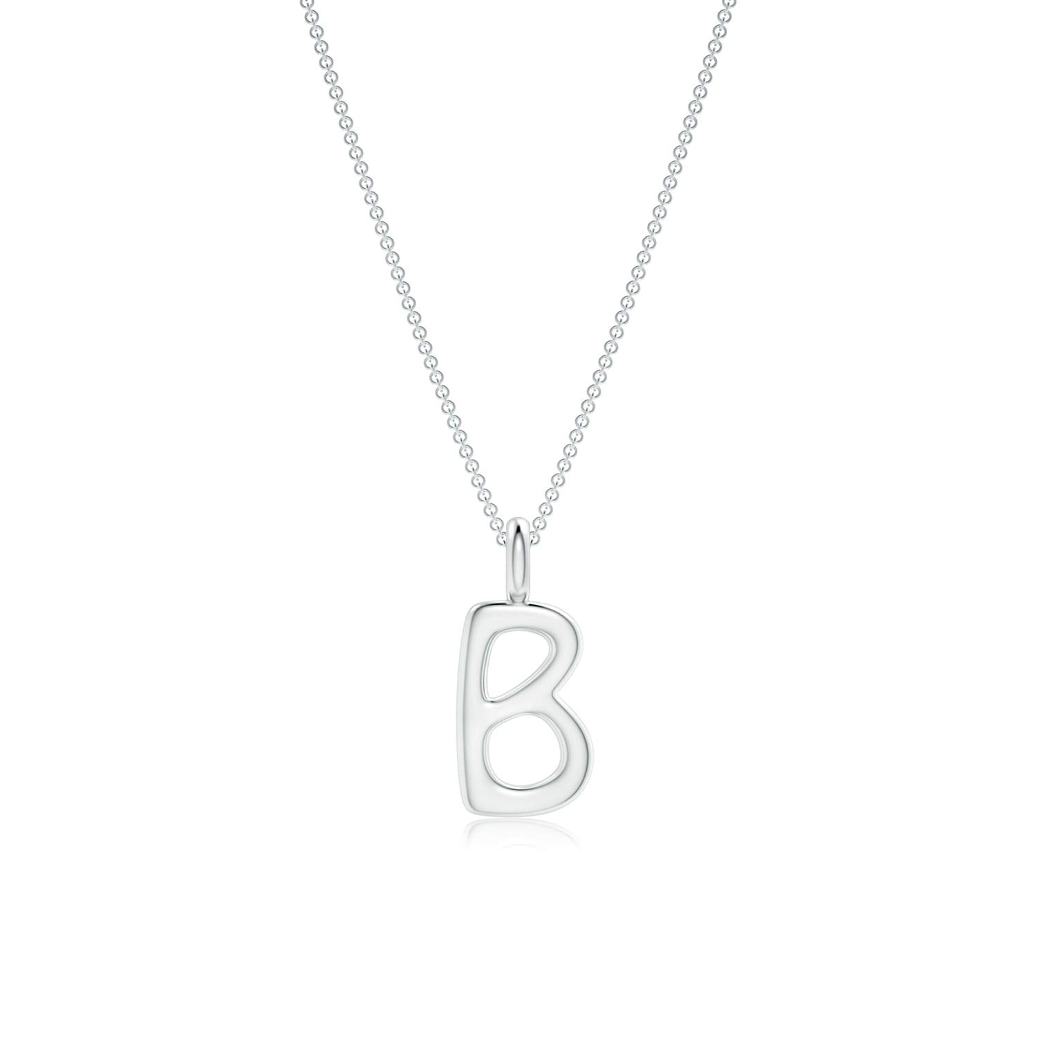 """Gift For Her-Capital Letter B Initial Alphabet Pendant Necklace in 14k Solid Gold with 18"""" Chain"""