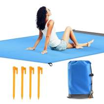 """QIANXIANG Outdoor Beach Blanket,57""""x 78"""" Extra Large Sand Free & Waterproof & Dust-Proof Mat, Fast Dry Easy to Clean Rug for Travel, Camping, Hiking and Music Festivals -Durable Tarp with Corner Stake"""