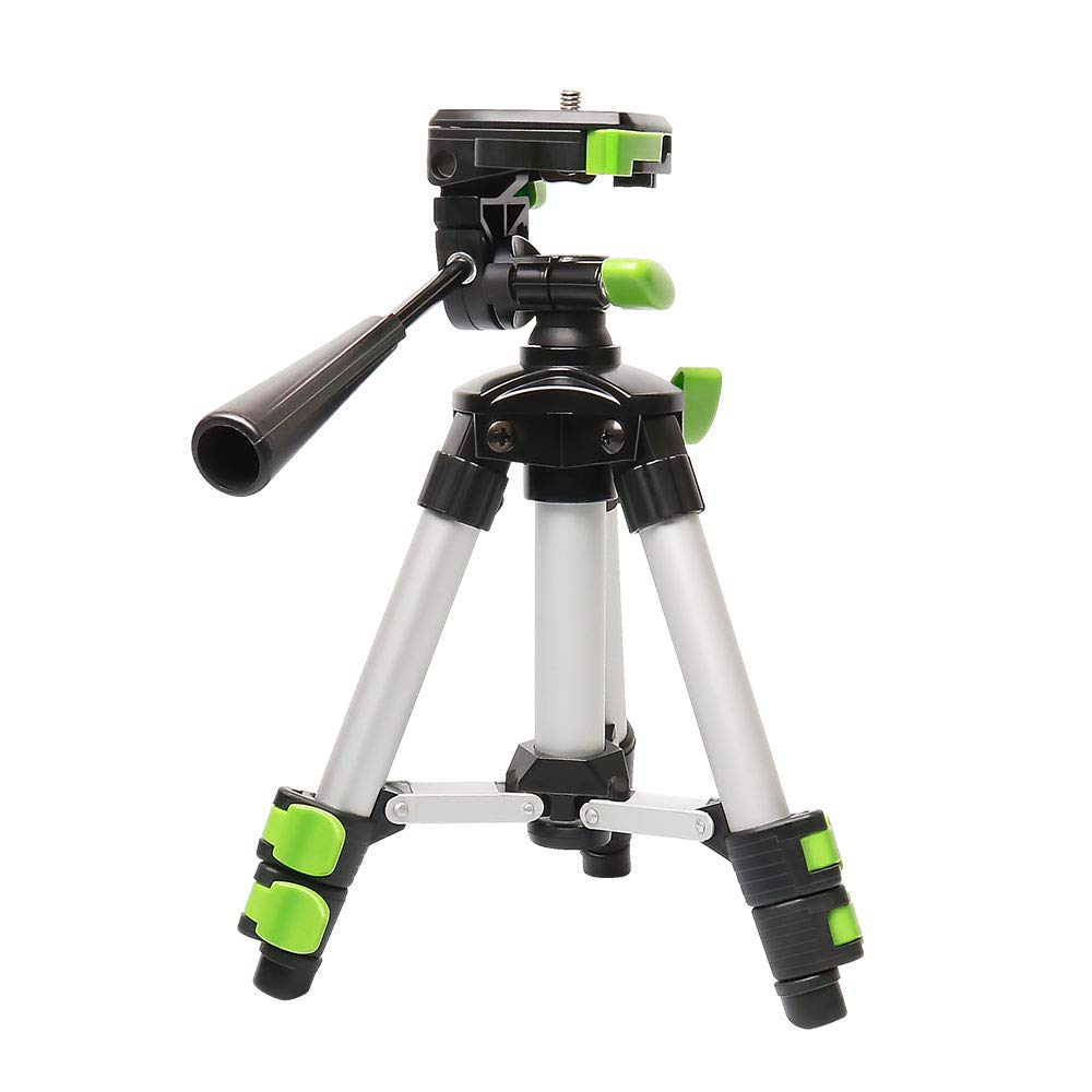 """Huepar TPD05 19.7"""" Lightweight Aluminum Tripod-Mini Portable Adjustable Tripod for Laser Level and Camera, with 3-Way Flexible Pan Head and Bubble Level, Quick Release Plate with 1/4""""-20 Screw Mount"""