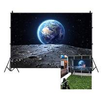 Baocicco 7x5ft Vinyl Cosmic Sky Backdrop Galaxy Photography Background Blue Earth Seen from The Moon Surface Mysterious Stars Boy Room Indoor Decors Wallpaper Children Adults Portrait Photo Studio