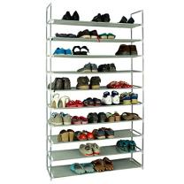 10 Tiers Shoe Rack, 50 Pairs Non-woven Fabric Shoe Storage Organizer, Shoe Tower Organizer Cabinet, Space Saving Shelf Closet (Gray)