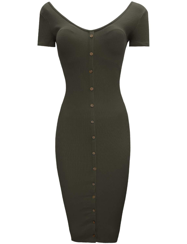 TAM WARE Women Button Up Front V-Neck Bodycon Midi Dress