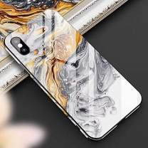 Cocomii Chamfered Edge Glass Marble iPhone Xs/iPhone X Case, Slim Thin Glossy Soft TPU Silicone Rubber Gel Tempered Glass Back 360° Flat Rim Fashion Bumper Cover for iPhone Xs/X 5.8 Inch (Earth Gray)