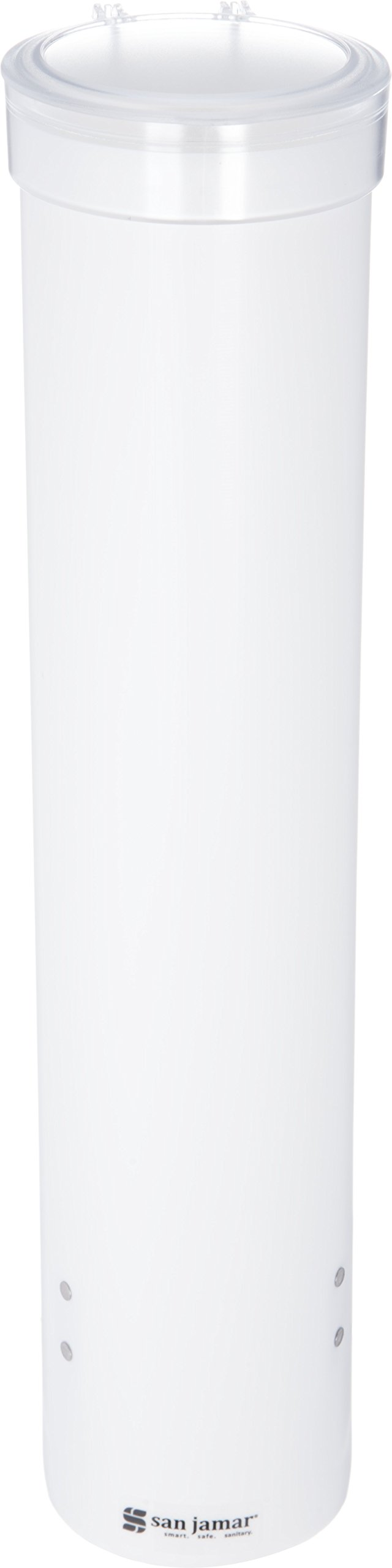 """San Jamar C3165WH Medium Pull Type Water Cup Dispenser, Fits 4 to 10 oz Cone and Flat Bottom Cups, 16"""" Tube Length, White"""