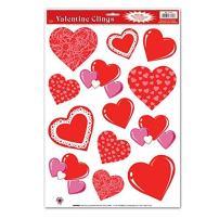 Valentine Heart Clings 12in. X 17in. Sheet (1/pkg) Pkg/6