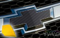 VViViD XPO Black Carbon Fiber Chevy Bowtie Logo Wrap Kit (6 Rolls (11.8 Inch x 4 Inch) + Squeegee)