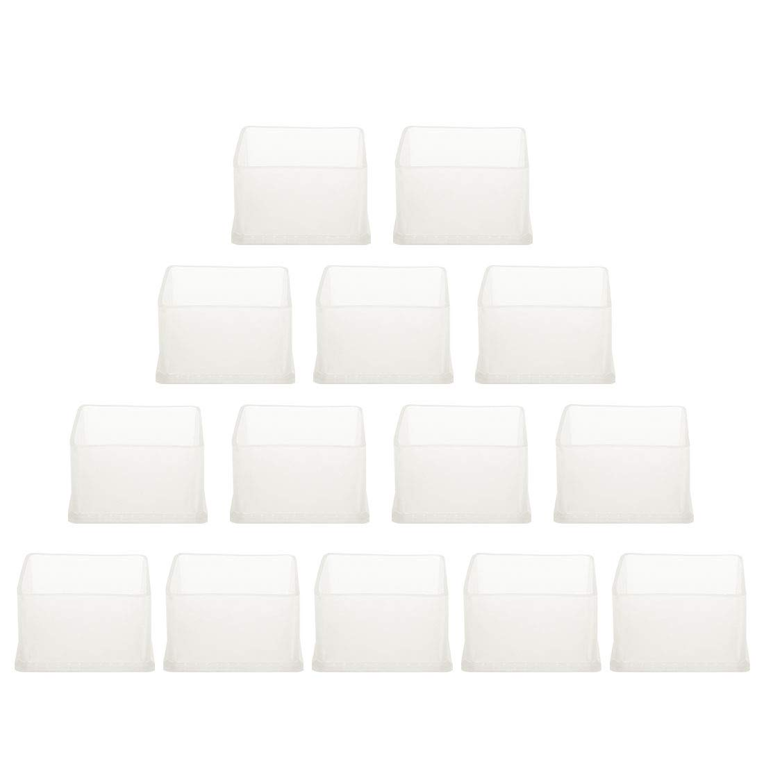 """uxcell Clear PVC Chair Leg Caps Desk Feet Cover Furniture Slider Floor Protector 14pcs 2.36"""" x 2.36"""" (60x60mm) Inner Size, Reduce Noise Anti Scratch"""