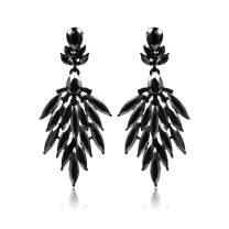 Fusamk Punk Rock Night Club Alloy Long Stud Earrings Crystal Leaf Drop Dangle Earrings,2PCS