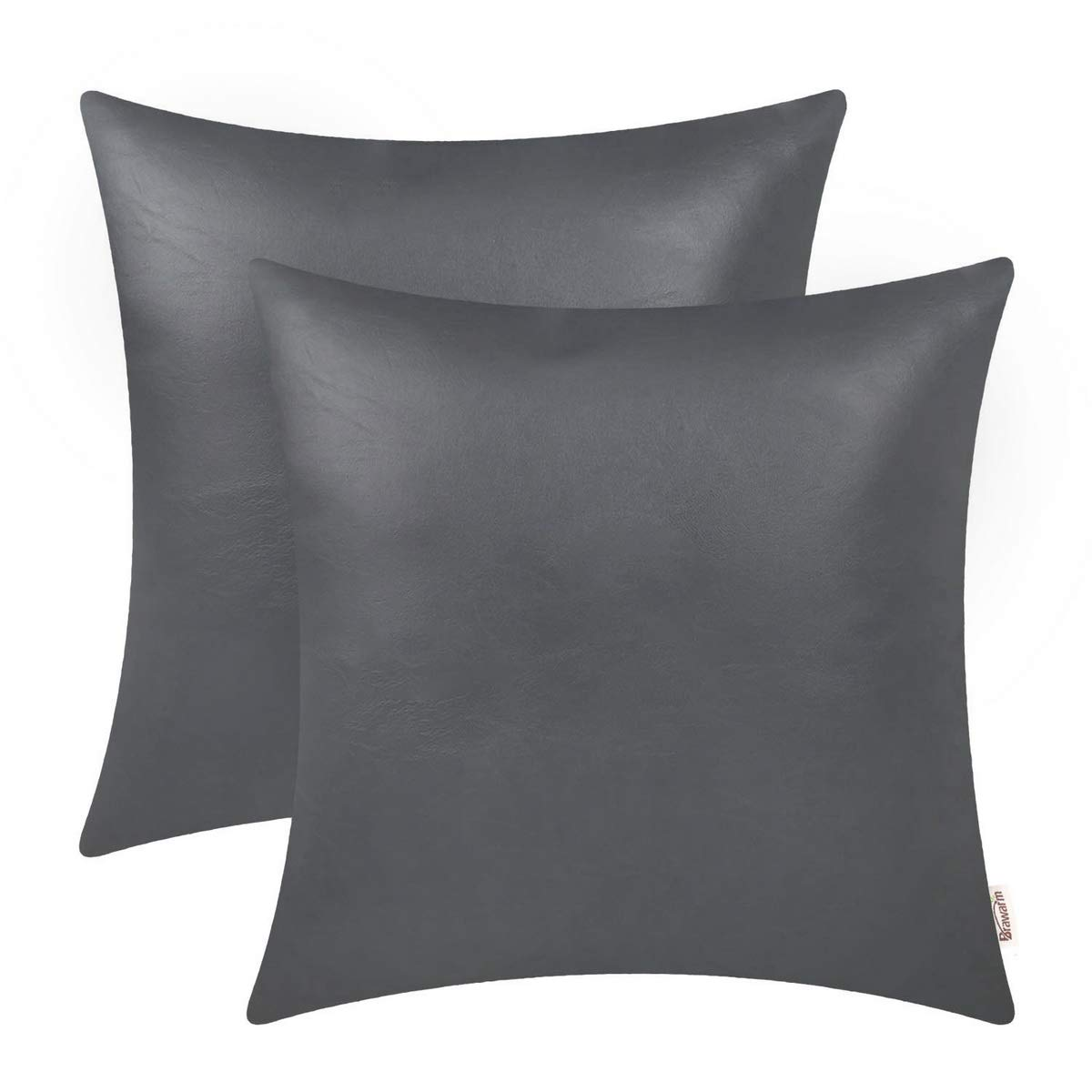 BRAWARM Pack of 2 Cozy Throw Pillow Covers Cases for Couch Sofa Home Decoration Solid Dyed Soft Faux Leather Both Sides 22 X 22 Inches Charcoal Gray