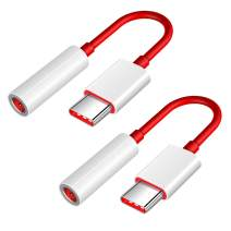 USB C to 3.5mm, Jiunai 2 Pack Type C to 3.5mm Headphone Jack Microphone Connector Hi-Res Aux Audio Stereo Adapter Cable for OnePlus 8 Pro OnePlus 7T OnePlus 7T Pro 6T 7 Huawei Mate 20 Pro P30 Xiaomi 9