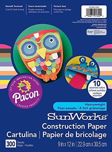 "SunWorks Construction Paper, 10 Assorted Colors,  9"" x 12"", 300 Sheets"