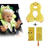 1 Adjustable Baby Travel Pillow, Baby Head Support and 2 Car Seat Belt Covers for Baby, Car Seat Belt Straps Shoulder Cushion Pads, for Baby, Toddler, Infants(Yellow Chick)