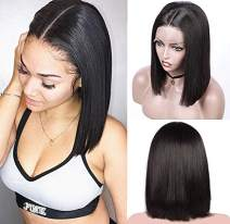 Natrual Black Lace Front Bob Wigs 13x6 Deep Part 180% Density Brazilian Human Hair Pre Plucked Natural Hairline Bleached Knots 10 Inch Straight Short Bob Wigs #1B for Women (Could Be Restyle)