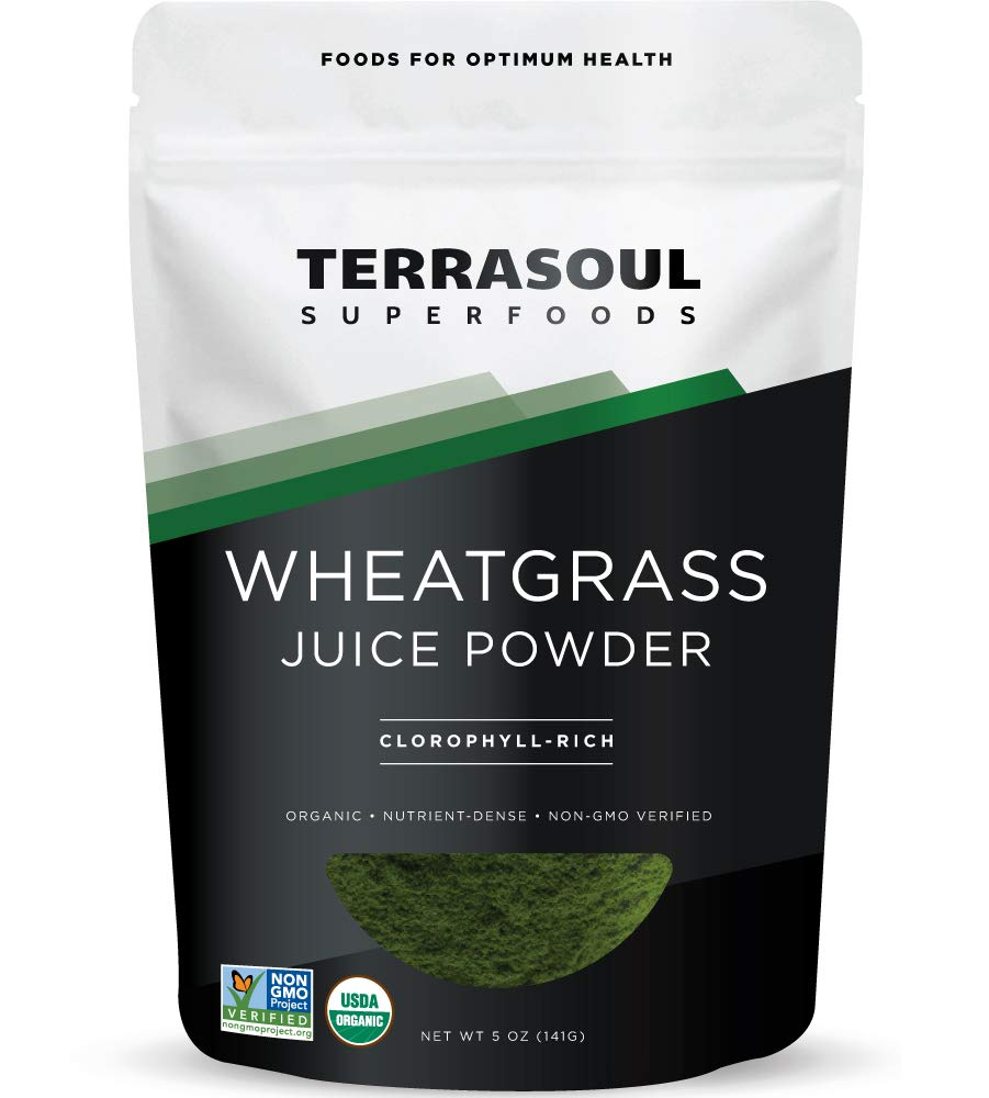 Terrasoul Superfoods Organic Wheat Grass Juice Powder, 5 Ounces - USA Grown   Made From Concentrated Juice   Superior to Wheatgrass