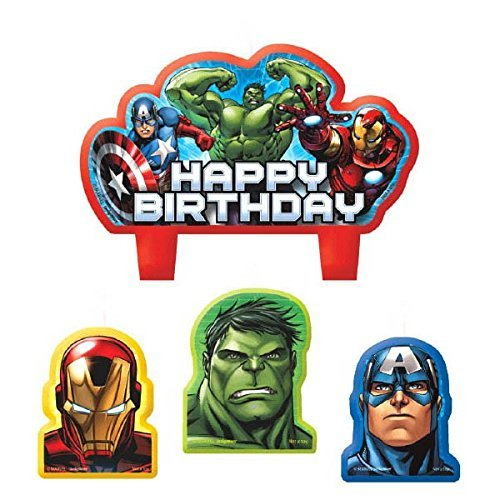 """Party Time Avengers Molded Mini Character Birthday Candle Set, Pack of 4, Red , 2.25"""" x 3.25"""" Wax"""